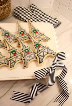 Eiffel Tower Cookies with Christmas Wreaths and Sparkly Sprinkles