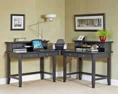 Furniture. Endearing Design Ideas Of Two Person Home Office Desks. Astounding Rectangle Shape Home Office Desk For Two Persons Featuring Black Wooden Tables And Extra Storage Drawers