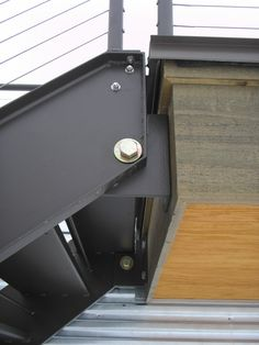 Hinged Steel Stair with cable rails, blackened steel, designer | Custom Metal Fabrication in Madison, Wisconsin