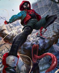 """""""Saw the trailer for Spiderman: into the spider-verse recently, really digging the look and style for it! Here's my take on Miles Morales Spiderman vs venom, really enjoyed painting this! Amazing Spiderman, Spiderman Kunst, Spiderman Spider, Spiderman Anime, Spiderman Poses, Black Spiderman, Spiderman Marvel, Joker Batman, Marvel Dc Comics"""