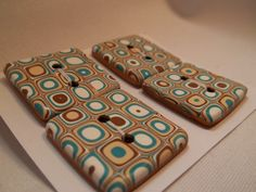 Set of 4 Square Handmade Polymer Clay Buttons by SunshineTextiles, $12.00