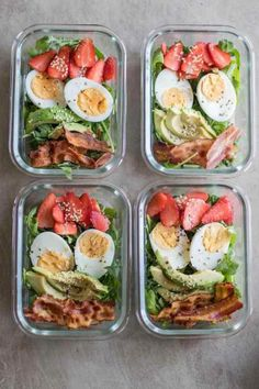 30 Inspiring Compliant Meal Ideas - Meal Prep on Fle.- 30 Inspiring Compliant Meal Ideas – Meal Prep on Fleek™ Bacon & Strawberry Breakfast Salad - Quick Healthy Breakfast, Healthy Meal Prep, Healthy Drinks, Healthy Cooking, Healthy Snacks, Healthy Eating, Savory Breakfast, Nutrition Drinks, Simple Meal Prep