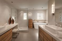 Modern wood bathroom vanity by Linear Fine Woodworking