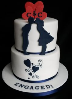 Lemon drizzle and red velvet cake for an engagement in Whitley Bay for a lovely couple. Awww.. Silhouette and Hearts Engagement Cake