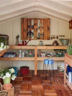 Customize or build your own potting bench. This is now on my to-do list! LOVE it! #bhgsummer
