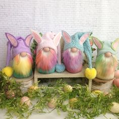 More Easter bunny gnomes are in the shop! See them at my shop, Etsy.com/shop/flowervalleygnomes