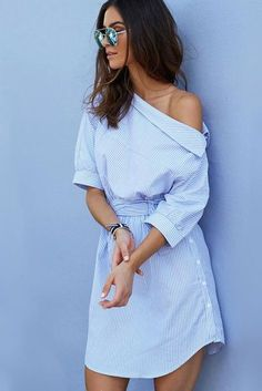 Oblique Neckline Half Sleeves Irregular Stripe Short Dress