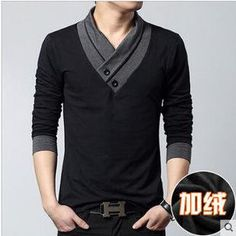 Big size cotton t shirt Spring/autumn fashion mens T-shirt homme men's long sleeved V-neck patchwork color casual T-shirts Fashion Moda, Look Fashion, Mens Fashion, Asian Fashion, Fashion Styles, Street Fashion, Fashion Black, Fashion 2017, Spring Fashion