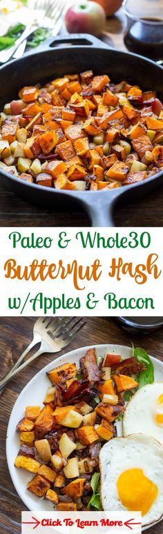 Paleo and Whole30 roasted butternut squash hash with apples, bacon, and caramelized onion. Simple, delicious, healthy and great for breakfast with eggs or as a side dish for any meal! #health #fitness #weightloss #healthyrecipes #weightlossrecipes
