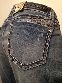 L.A. Idol Plus Size 19 Angel Wing Bold Stitch Stretch Blue Boot Cut Jeans NWT #LAIdol #BootCut