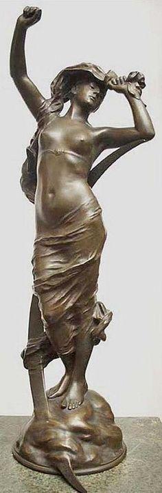 Ernest Dagonet, bronze figure of standing maiden;