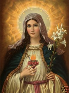 "HIGH QUALITY PORTRAIT OIL PAINTING ON CANVAS: SACRED HEART OF MARY 24""X36"" 3EU8"