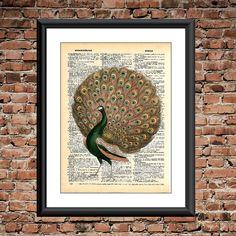 Green and Yellow Peacock Dictionary Page Print -upcycled dictionary art, wall decor, Animal art print, bird decor, peacock art by FancyPantzPrints on Etsy