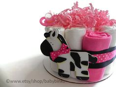Pink  Zebra Diaper Cake  One Tier  Baby Shower gift or