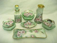 Antique Dresser Vanity Set Trays Boxes Talcum Shaker Perfume Hand Painted Porcelain