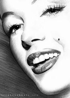 Marilyn Monroe by Henstepbatbot / This image first pinned to Marilyn Monroe art board here: http://pinterest.com/fairbanksgrafix/marilyn-monroe-art/ #Art #MarilynMonroe