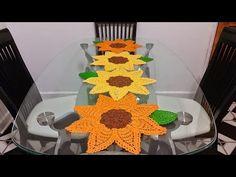 hojas de girasol en crochetcetro de mesa - YouTube
