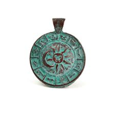 ZODIAC PENDANT|Mykonos Greek Casting Beads start with a lead-free base metal, fired in Copper and finished with a Green Patina!This pendant features the signs of the Zodiac along the border of the pendant, and the Sun and Moon in the center.   [2-$6]