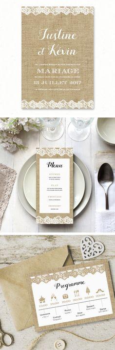 """Collection de papeterie de mariage """"Dentelle Champêtre"""", composée de save the date, faire-part, menu, marque-place, badges, remerciements,... entièrement personnalisable. Parfait pour un mariage champêtre chic ou rustique ! www.paperandlove.be #fairepartmariage #champetre #dentelle #lin #rustique #papeteriemariage / """"Rural Linen"""" Wedding stationery, composed of save the date, invitation, menu, place card, thank you card,... fully customizable. Perfect for a rural or rustic wedding…"""