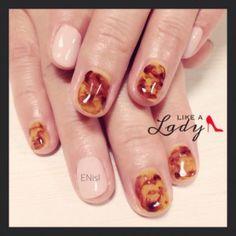 【べっ甲 ネイル】ジェルネイル,nails,gelnails,nailart,tortoiseshell