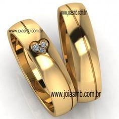 alianças de ouro com coração