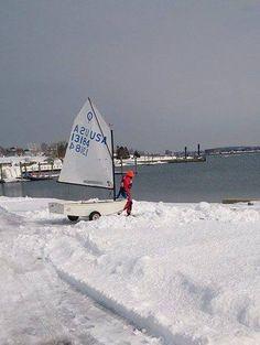 Opti Sailing in winter.