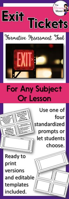 Exit Tickets: Standard Prompts for Any Subject or Lesson Middle School Ela, High School, English Lesson Plans, English Lessons, Formative And Summative Assessment, Effective Classroom Management, Exit Tickets, Teaching Resources, Teaching Ideas
