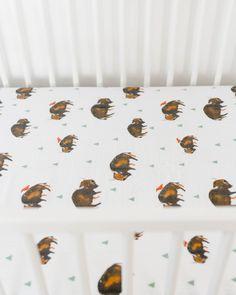 Cotton Muslin Crib Sheet - Bison