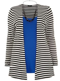 Evans Monochrome Stripe 2-in-1 Top with Necklace - Tops & Tunics  - Clothing