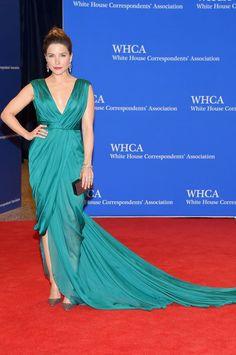 Sophia Bush wears a blue-green gown to the 101st Annual White House Correspondents' Association Dinner at the Washington Hilton on April 25, 2015 in Washington, DC.