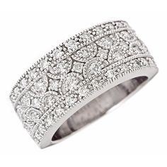 0.95ct Diamond Antique Women's Wedding Anniversary Band in Pave Setting 14K White Gold