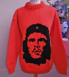 2aeb1e31984d Hand Knitted Red Jumper Sweater with Che Guevara image in black by  Bexknitwear