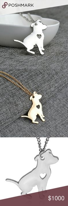 """COMING SOON **Charity Donation** Dog Necklace Silver or gold plated alloy metal pendant on 18"""" chain. Pendant measures approx 1.5""""x1.5"""" All Profits for this item will be donated to Chews Life Dog Rescue in Los Angeles. Please feel free to ask any questions below! Jewelry Necklaces"""
