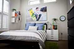 Clean, simple teen boy bedroom