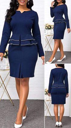 Split Neck Long Sleeve Peplum Waist Dress - New Site Classy Work Outfits, Classy Dress, Chic Outfits, Outfits Dress, Summer Outfits, Short African Dresses, Latest African Fashion Dresses, Women's Fashion Dresses, Elegant Dresses
