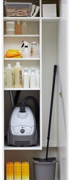 for Furniture, Lighting, Home Accessories & More Ikea Organised inside of a cleaning closet - another option for broom/mop storage!Ikea Organised inside of a cleaning closet - another option for broom/mop storage! Utility Closet, Laundry Closet, Cleaning Closet, Laundry Storage, Laundry In Bathroom, Laundry Rooms, Storage Room, Clothes Storage, Bathroom Closet