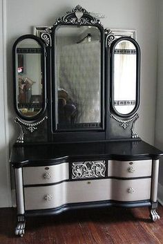 Wow! Victorian Gothic Antique Vanity with Tri-Fold Mirror; Black & Aged Warm Silver...I'm completely taken with this