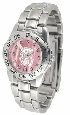 Weber State Wildcats NCAA Womens Pearl Sports Watch by SunTime. $72.95. This beautiful eye-catching Ladies Sports Mother of Pearl Watch With Stainless Steel Band comes with a stainless steel link bracelet. A date calendar function plus a rotating bezel/timer circles the scratch resistant crystal. Sport the bold colorful high quality logo with pride.Mother of Pearl Dial OptionThe hypnotic iridescence of our natural blush mother of pearl combined with the sparkling brilliance of Sw...