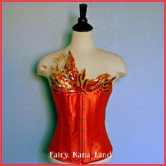 Halloween Costume item - The FIRE FAERIE- Adult Fairy Costume corset top - size medium on Etsy, $150.00