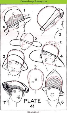 Free Fashion Design Drawing Online Course - Hats Part Fashion Drawing for Dress Design. A complete guide to fashion drawing, dress design, dressmaking and fashion sketching. Drawing Hats, Drawing Clothes, Fashion Design Drawings, Fashion Sketches, Drawing Fashion, Illustration Mode, Magazine Design, Flow Magazine, Learn To Draw