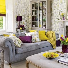accessory colour ideas for my grey sofa.  Not just any yellow this is the new yellow. just a touch of pond slim green - fabulous.