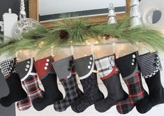 Love the cuff and buttons on these stockings. 2014 Christmas Stocking Round-up. South House Designs.