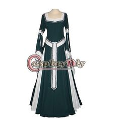 Lady's Deluxe Medieval Renaissance Green & White Dress Costume - DeluxeAdultCostumes.com