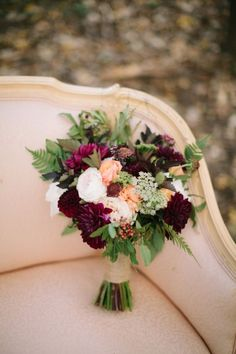 Peach and Burgundy Rustic Bouquet with Greenery and Queen Anne's Lace // wedding, bride, bridal, fall, autumn