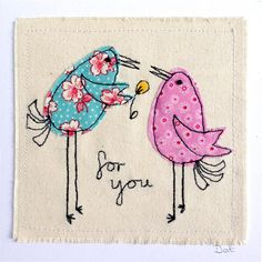 Personalised Love Birds greeting card, machine embroidered stitched