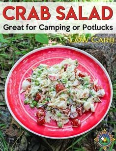 Easy Crab Salad Recipe - Want a hearty salad for a meal? Cool off with this easy crab salad recipe. It's perfect to make while camping or to take to a potluck. Check out the fun unique ingredient. This healthy dinner is full of flavor! Camping Salads, Camping Menu, Camping Recipes, Camping Ideas, Tent Camping, Camping Foods, Camping Stuff, Camping Essentials, Planning Menu