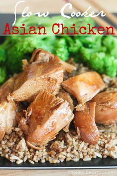 Slow Cooker Asian Chicken - Ingredients: 4 boneless skinless chicken breasts 1/4 cup soy sauce 1 Tbsp Worchestershire Sauce 1 Tbsp quick-cooking tapioca  (This is found by the jello.  It is in a little box either on the very top of very bottom of the shelf.) 1 tsp minced garlic 1 Tbsp Brown Sugar 2 Tbsp Oyster sauce
