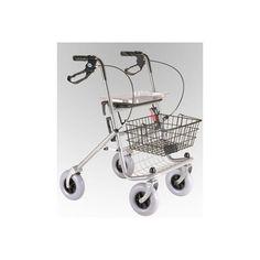 Andador rolator plegable con 4 ruedas de 200 x 50 mm. Esta equipado con un confortable asiento de descanso, y manetas de frenos autobloqueantes de seguridad, cesta de la compra y bandeja desmontable para su uso doméstico.