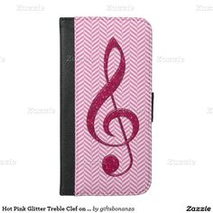 Hot Pink Glitter Treble Clef on Pink Chevron iphone 6 plus wallet case