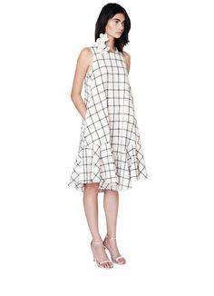 not technically maternity // Plaid Linen Trapeze Dress